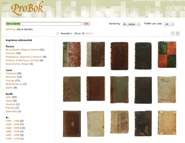 Sida med sökresultat i ProBok